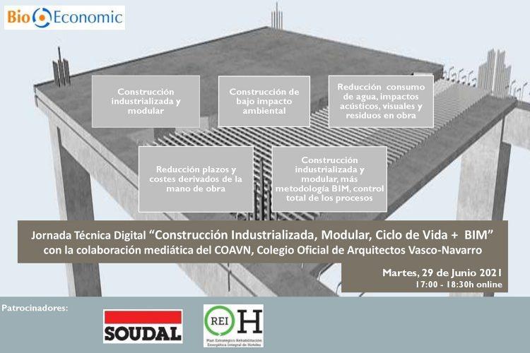 """Cartel Webinar COAVN """"Construcción Industrializada + BIM"""