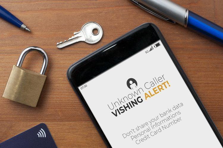alerta de vishing en un smartphone